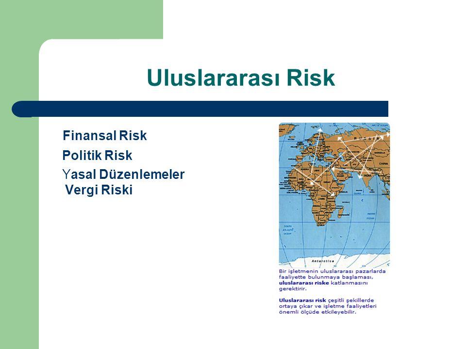 Uluslararası Risk Finansal Risk Politik Risk Yasal Düzenlemeler Vergi Riski