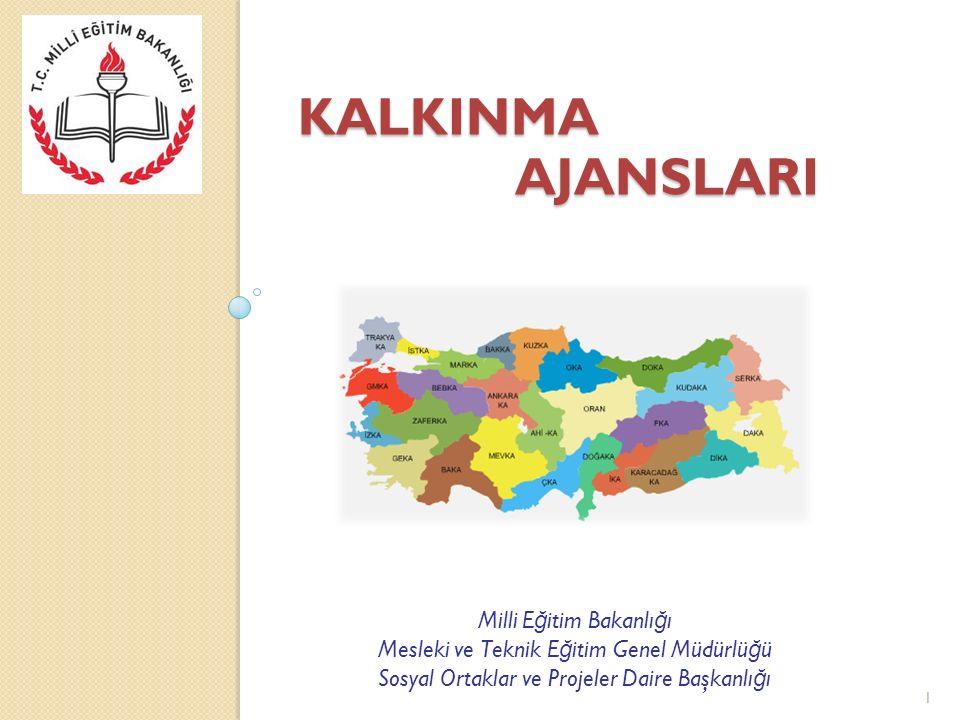 KALKINMA AJANSLARI Yerel potansiyeli ve dinamikleri harekete geçirerek, bölgesel kalkınmayı amaçlayan organizasyonlardır.