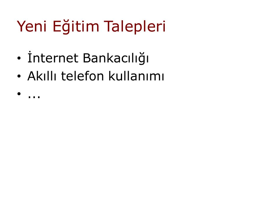 Yeni Eğitim Talepleri İnternet Bankacılığı Akıllı telefon kullanımı...