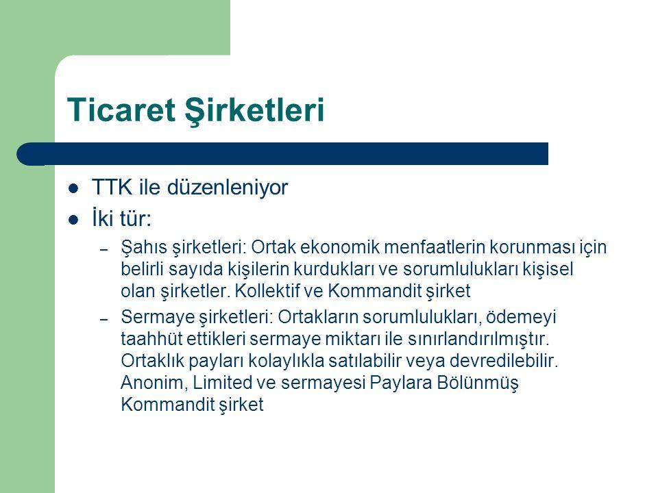 Ticaret Şirketleri TTK ile düzenleniyor İki tür: – Şahıs şirketleri: Ortak ekonomik menfaatlerin korunması için belirli sayıda kişilerin kurdukları ve