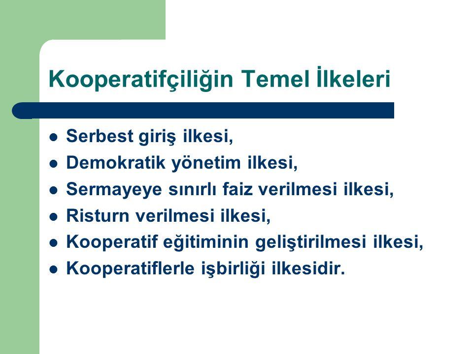 Kooperatifçiliğin Temel İlkeleri Serbest giriş ilkesi, Demokratik yönetim ilkesi, Sermayeye sınırlı faiz verilmesi ilkesi, Risturn verilmesi ilkesi, K