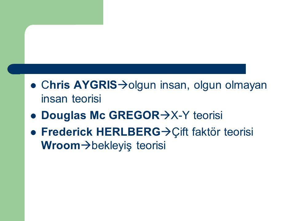 Chris AYGRIS  olgun insan, olgun olmayan insan teorisi Douglas Mc GREGOR  X-Y teorisi Frederick HERLBERG  Çift faktör teorisi Wroom  bekleyiş teor