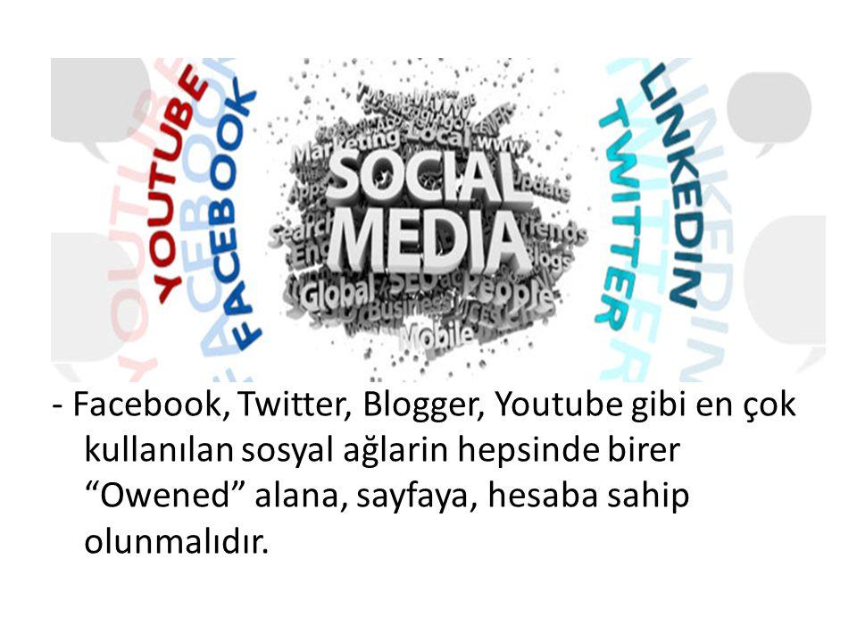 """- Facebook, Twitter, Blogger, Youtube gibi en çok kullanılan sosyal ağlarin hepsinde birer """"Owened"""" alana, sayfaya, hesaba sahip olunmalıdır."""