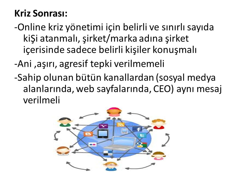 Kriz Sonrası: -Online kriz yönetimi için belirli ve sınırlı sayıda kiŞi atanmalı, şirket/marka adına şirket içerisinde sadece belirli kişiler konuşmal