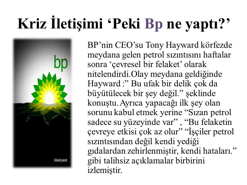 Kriz İletişimi 'Peki Bp ne yaptı?' BP'nin CEO'su Tony Hayward körfezde meydana gelen petrol sızıntısını haftalar sonra 'çevresel bir felaket' olarak n