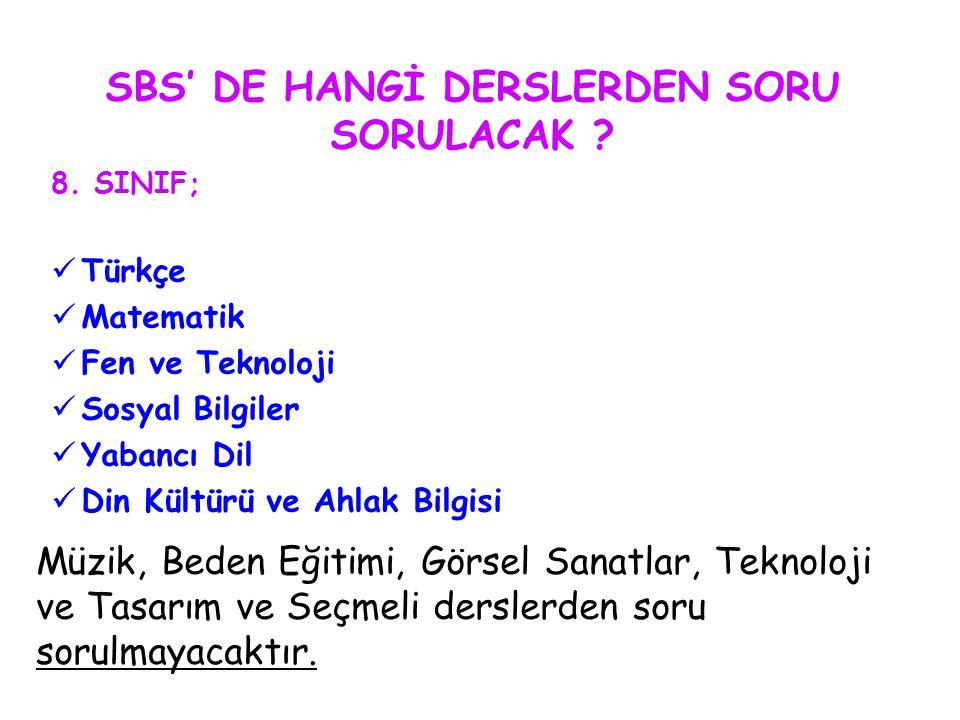 SBS' DE HANGİ DERSLERDEN SORU SORULACAK ? 8. SINIF; Türkçe Matematik Fen ve Teknoloji Sosyal Bilgiler Yabancı Dil Din Kültürü ve Ahlak Bilgisi Müzik,