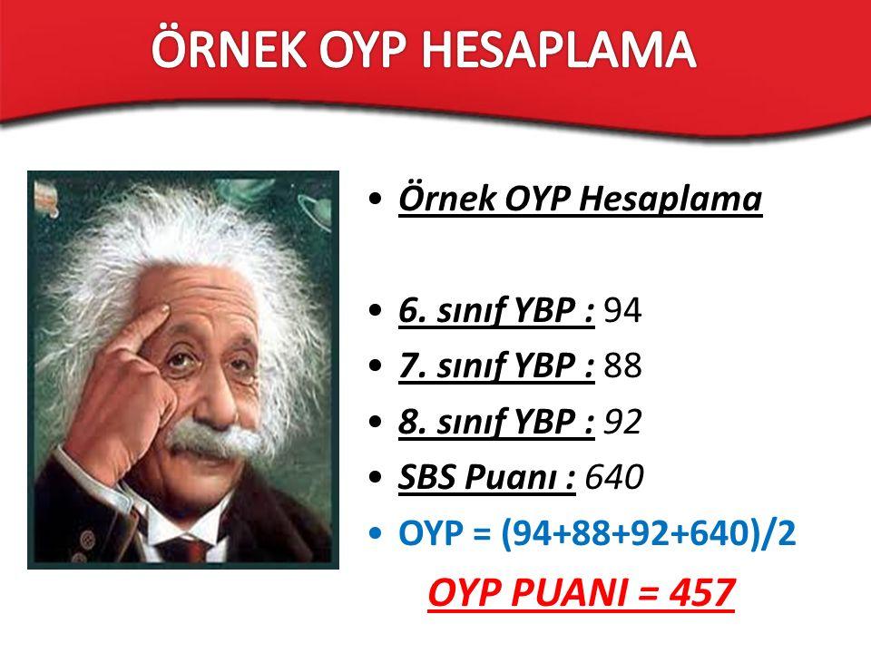 Örnek OYP Hesaplama 6. sınıf YBP : 94 7. sınıf YBP : 88 8. sınıf YBP : 92 SBS Puanı : 640 OYP = (94+88+92+640)/2 OYP PUANI = 457