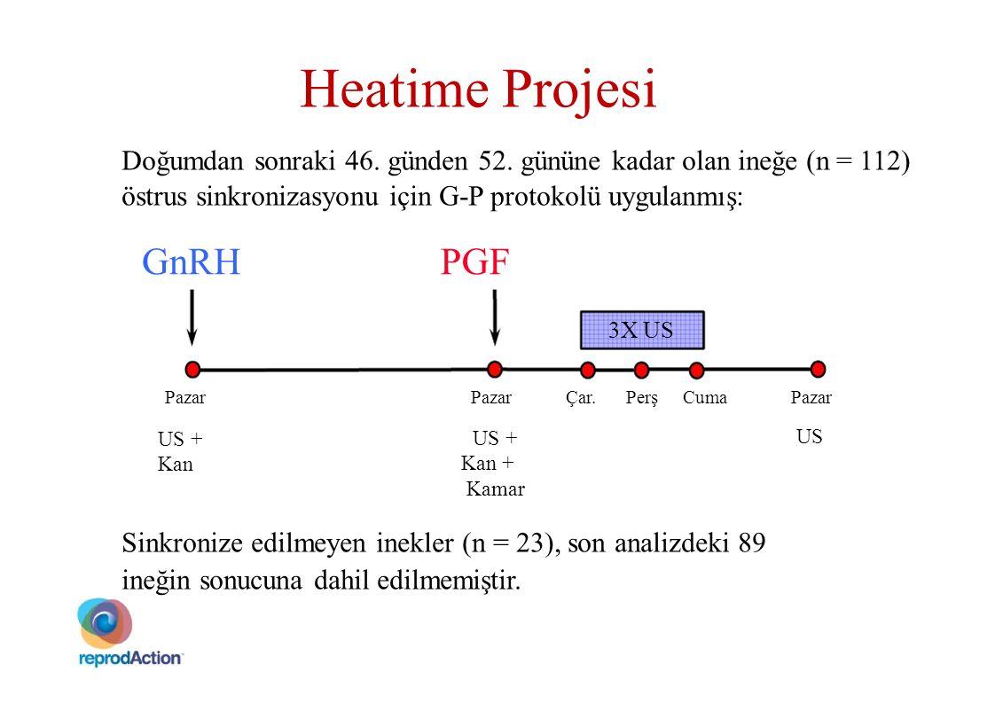 Heatime Projesi Doğumdan sonraki 46. günden 52. gününe kadar olan ineğe (n = 112) östrus sinkronizasyonu için G-P protokolü uygulanmış: GnRHPGF 3X US