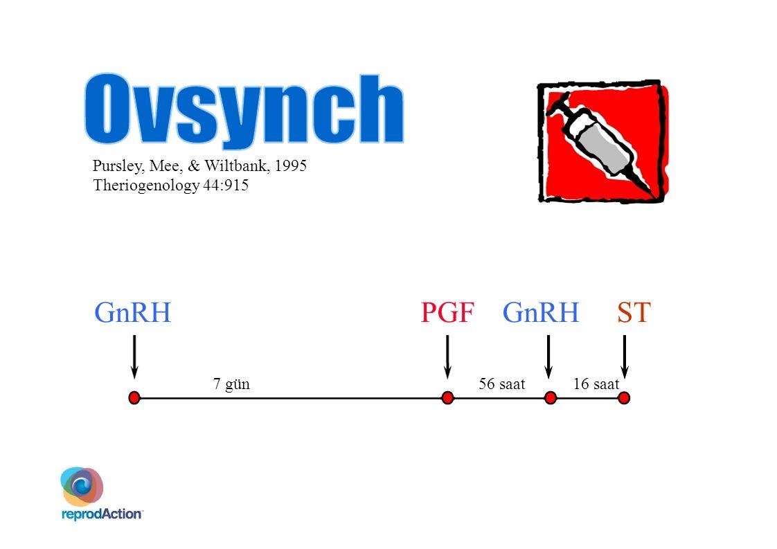 Pursley, Mee, & Wiltbank, 1995 Theriogenology 44:915 7 gün56 saat GnRH 16 saat PGF  GnRH ST