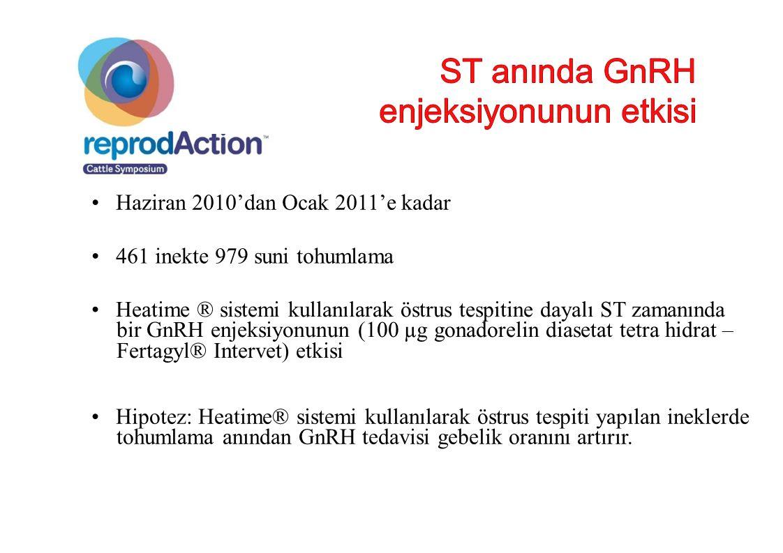 Haziran 2010'dan Ocak 2011'e kadar 461 inekte 979 suni tohumlama Heatime ® sistemi kullanılarak östrus tespitine dayalı ST zamanında bir GnRH enjeksiy