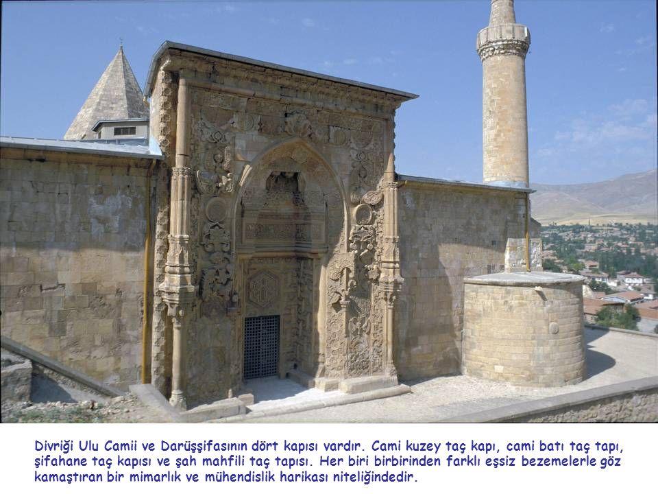 Divriği Ulu Camii ve Darüşşifasının dört kapısı vardır. Cami kuzey taç kapı, cami batı taç tapı, şifahane taç kapısı ve şah mahfili taç tapısı. Her bi