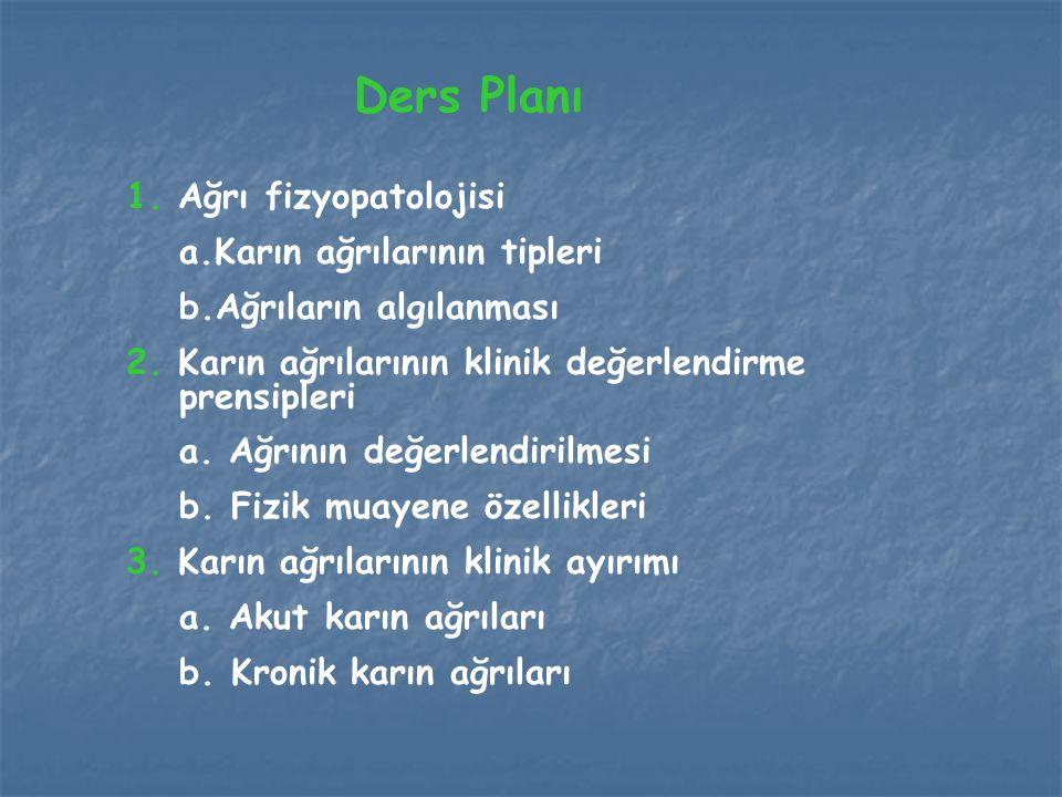 Ders Planı 1. Ağrı fizyopatolojisi a.Karın ağrılarının tipleri b.Ağrıların algılanması 2. Karın ağrılarının klinik değerlendirme prensipleri a. Ağrını