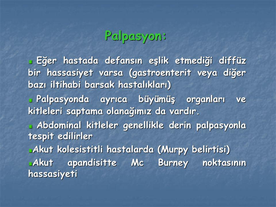 Palpasyon: Eğer hastada defansın eşlik etmediği diffüz bir hassasiyet varsa (gastroenterit veya diğer bazı iltihabi barsak hastalıkları) Eğer hastada