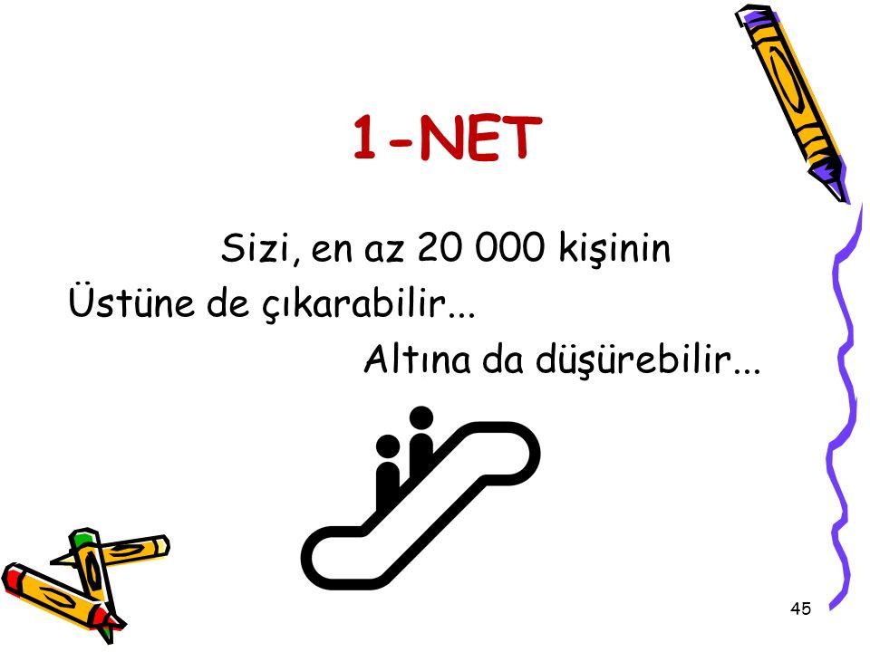 45 1-NET Sizi, en az 20 000 kişinin Üstüne de çıkarabilir... Altına da düşürebilir...