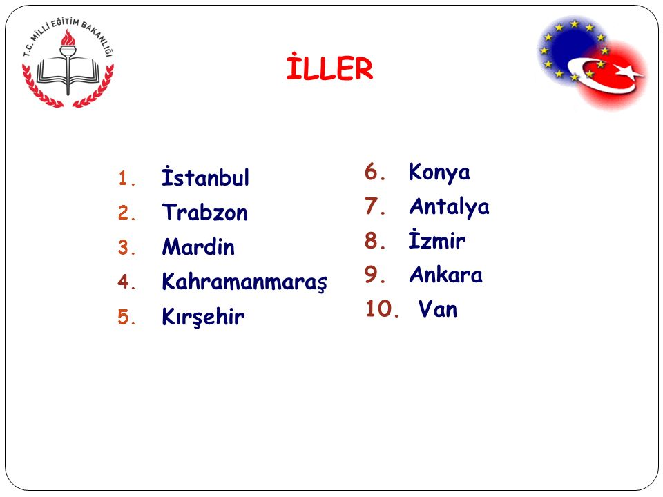 İLLER 1. İstanbul 2. Trabzon 3. Mardin 4. Kahramanmaraş 5.