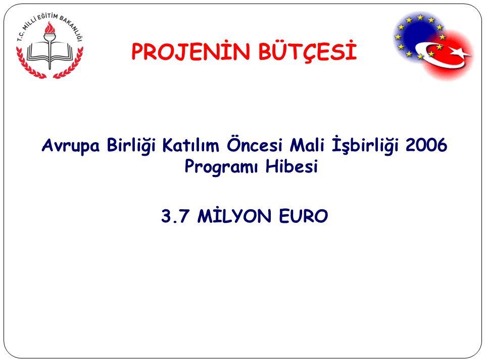 Avrupa Birliği Katılım Öncesi Mali İşbirliği 2006 Programı Hibesi 3.7 MİLYON EURO PROJENİN BÜTÇESİ