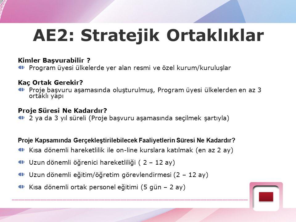 AE2: Stratejik Ortaklıklar Kimler Başvurabilir ? Program üyesi ülkelerde yer alan resmi ve özel kurum/kuruluşlar Kaç Ortak Gerekir? Proje başvuru aşam