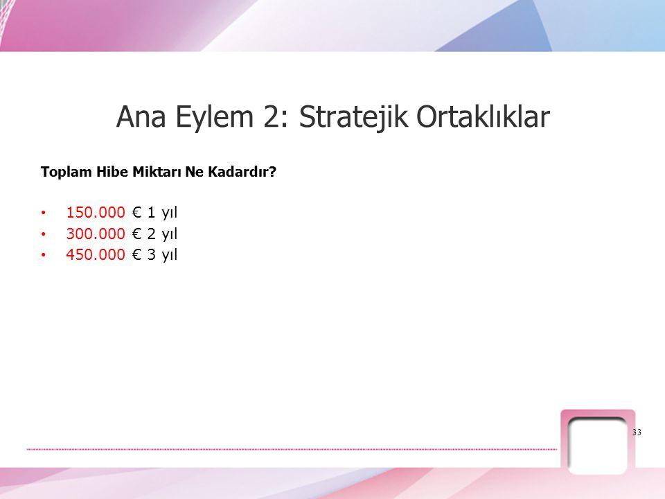Toplam Hibe Miktarı Ne Kadardır? 150.000 € 1 yıl 300.000 € 2 yıl 450.000 € 3 yıl 33 Ana Eylem 2: Stratejik Ortaklıklar