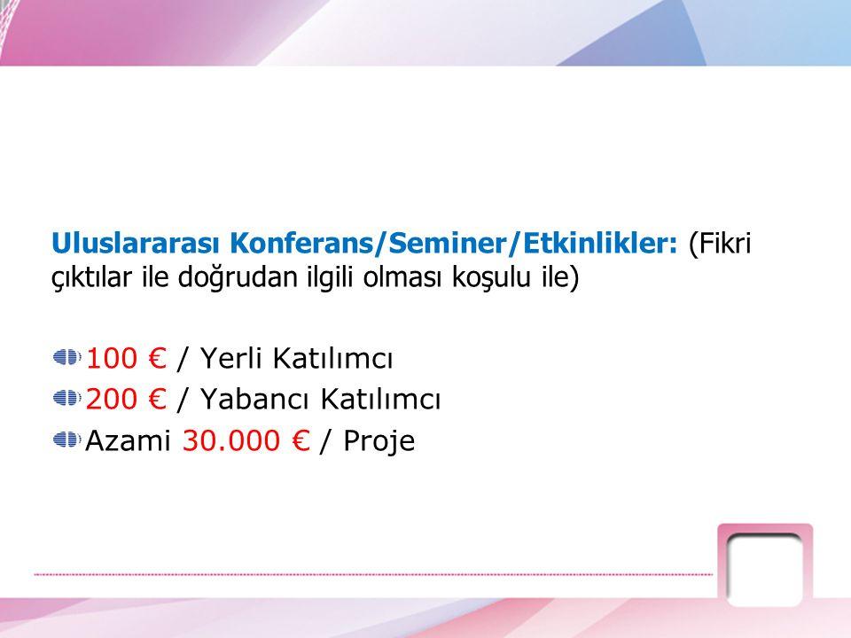 Uluslararası Konferans/Seminer/Etkinlikler: (Fikri çıktılar ile doğrudan ilgili olması koşulu ile) 100 € / Yerli Katılımcı 200 € / Yabancı Katılımcı A