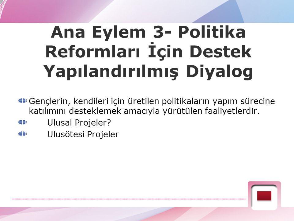 Ana Eylem 3- Politika Reformları İçin Destek Yapılandırılmış Diyalog Gençlerin, kendileri için üretilen politikaların yapım sürecine katılımını destek