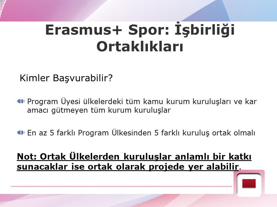 Erasmus+ Spor: İşbirliği Ortaklıkları Kimler Başvurabilir? Program Üyesi ülkelerdeki tüm kamu kurum kuruluşları ve kar amacı gütmeyen tüm kurum kurulu