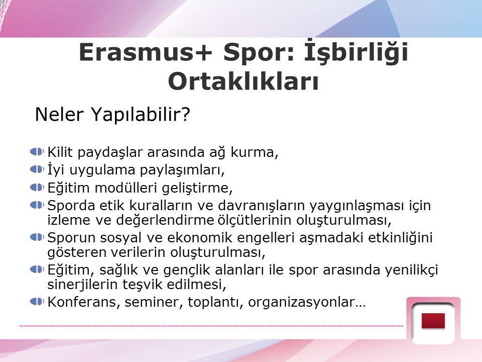 Erasmus+ Spor: İşbirliği Ortaklıkları Neler Yapılabilir? Kilit paydaşlar arasında ağ kurma, İyi uygulama paylaşımları, Eğitim modülleri geliştirme, Sp