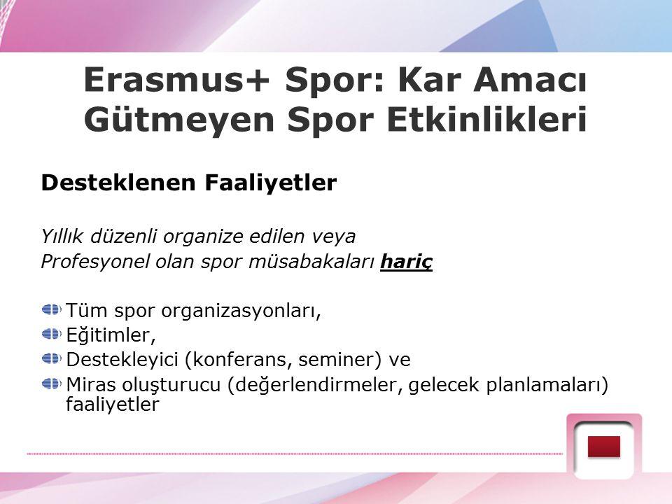 Erasmus+ Spor: Kar Amacı Gütmeyen Spor Etkinlikleri Desteklenen Faaliyetler Yıllık düzenli organize edilen veya Profesyonel olan spor müsabakaları har