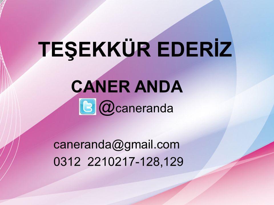 TEŞEKKÜR EDERİZ CANER ANDA @ caneranda caneranda@gmail.com 0312 2210217-128,129
