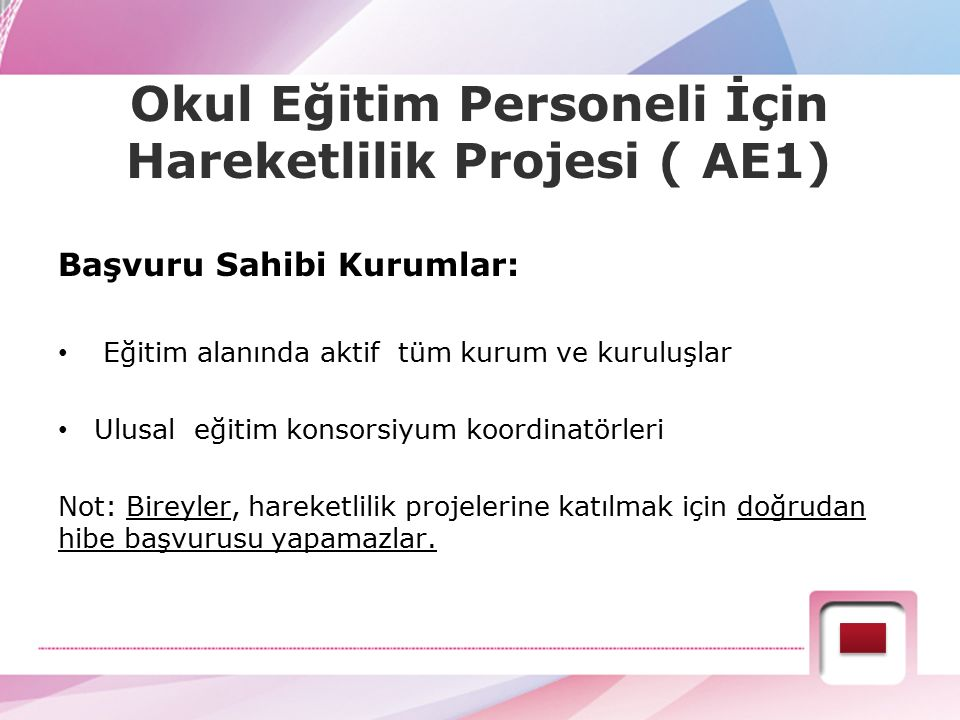 AE1: Yetişkin Eğitimi Personelinin Öğrenme Hareketliliği Kimler başvurabilir.