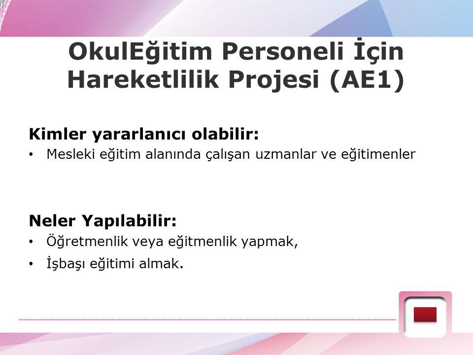 AE1: Yetişkin Eğitimi Personelinin Öğrenme Hareketliliği Projenin süresi: 1 veya 2 yıl Faaliyetin süresi: 2 gün - 2 ay Projeye sağlanan hibe başlıkları: - Seyahat giderleri (İkamet edilen yerden faaliyetin bulunduğu yere katılım için gereken seyahat ödemesi) - Kurumsal destek - Bireysel destek (Bireysel harcırah miktarı) - Kurs ücreti - Özel ihtiyaç desteği