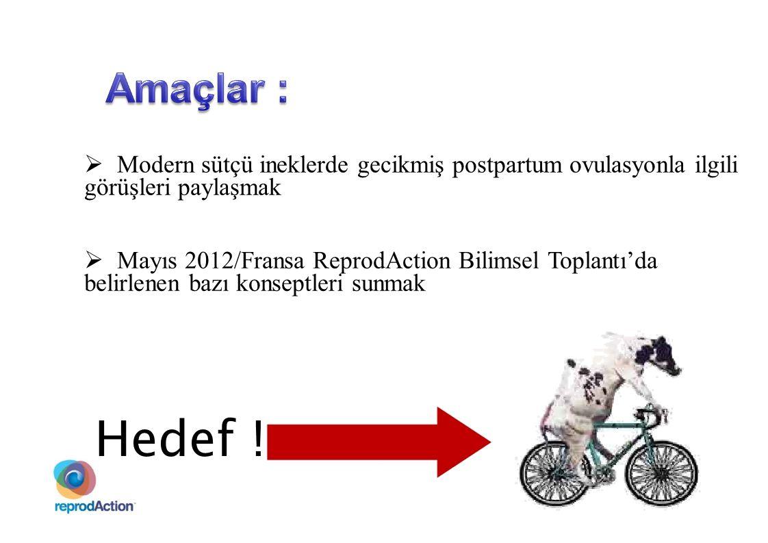  Modern sütçü ineklerde gecikmiş postpartum ovulasyonla ilgili görüşleri paylaşmak  Mayıs 2012/Fransa ReprodAction Bilimsel Toplantı'da belirlenen b