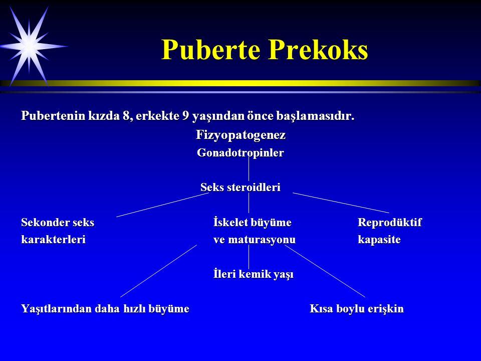 Puberte Prekoks Pubertenin kızda 8, erkekte 9 yaşından önce başlamasıdır. FizyopatogenezGonadotropinler Seks steroidleri Sekonder seksİskelet büyümeRe