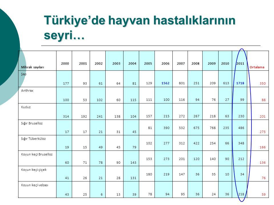 Türkiye'de hayvan hastalıklarının seyri… Mihrak sayıları 200020012002200320042005200620072008200920102011 Ortalama Şap 17793616481 1291562801251209613