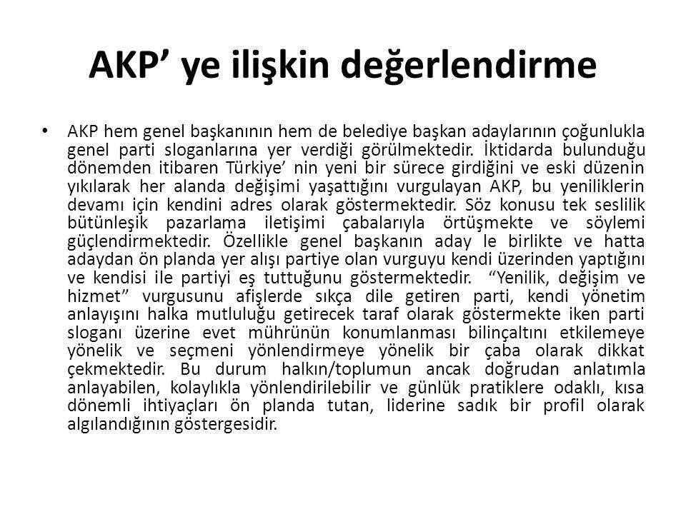 AKP' ye ilişkin değerlendirme AKP hem genel başkanının hem de belediye başkan adaylarının çoğunlukla genel parti sloganlarına yer verdiği görülmektedi
