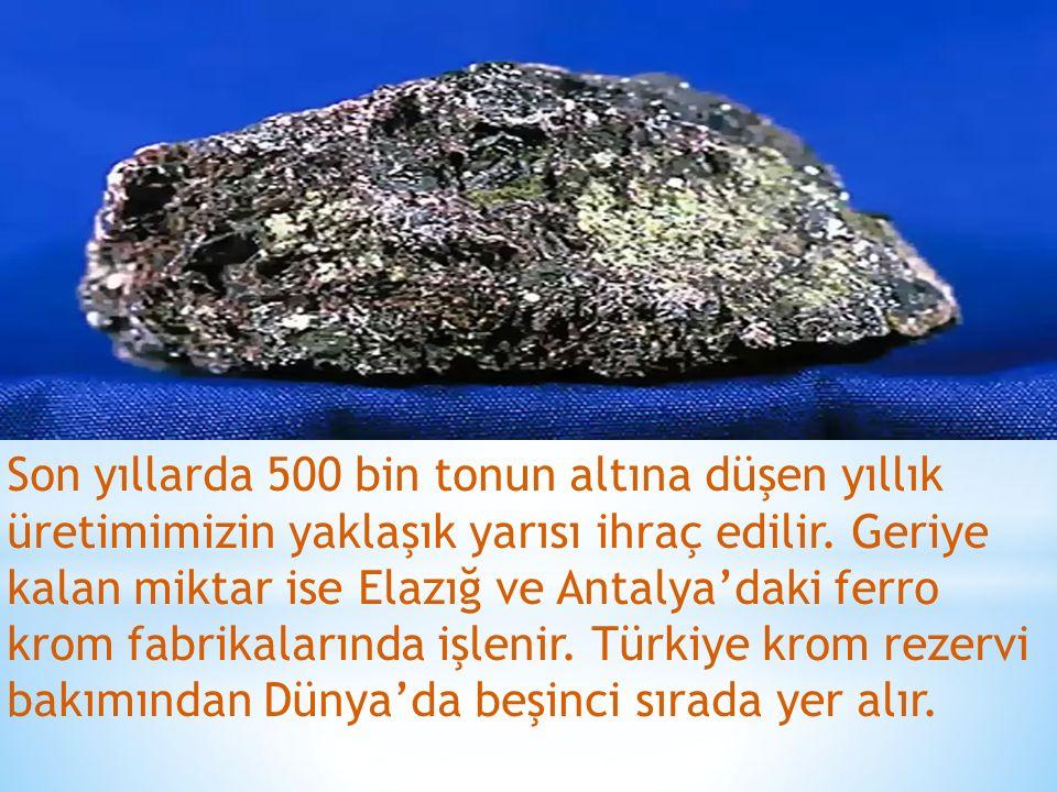 Son yıllarda 500 bin tonun altına düşen yıllık üretimimizin yaklaşık yarısı ihraç edilir. Geriye kalan miktar ise Elazığ ve Antalya'daki ferro krom f