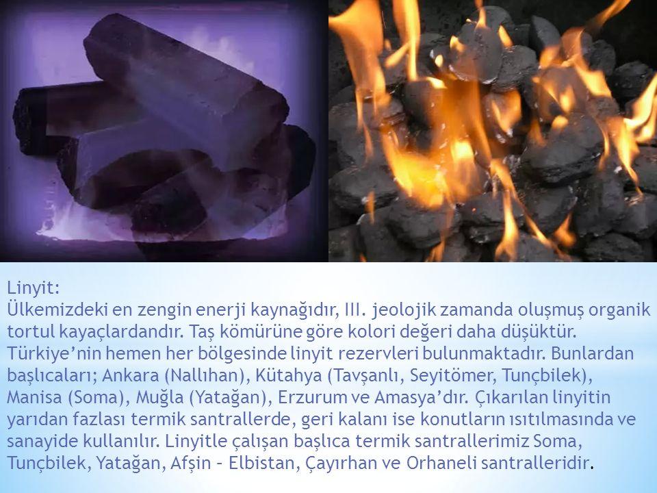 Linyit: Ülkemizdeki en zengin enerji kaynağıdır, III. jeolojik zamanda oluşmuş organik tortul kayaçlardandır. Taş kömürüne göre kolori değeri daha düş