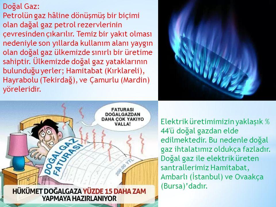 Doğal Gaz: Petrolün gaz hâline dönüşmüş bir biçimi olan dağal gaz petrol rezervlerinin çevresinden çıkarılır. Temiz bir yakıt olması nedeniyle son yıl