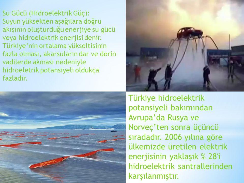 Su Gücü (Hidroelektrik Güç): Suyun yüksekten aşağılara doğru akışının oluşturduğu enerjiye su gücü veya hidroelektrik enerjisi denir. Türkiye'nin orta