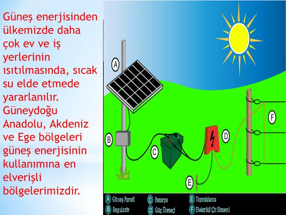 Güneş enerjisinden ülkemizde daha çok ev ve iş yerlerinin ısıtılmasında, sıcak su elde etmede yararlanılır. Güneydoğu Anadolu, Akdeniz ve Ege bölgeler