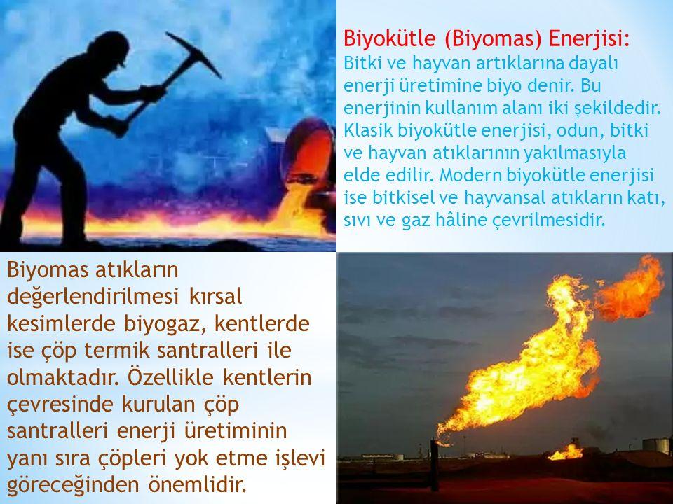 Biyokütle (Biyomas) Enerjisi: Bitki ve hayvan artıklarına dayalı enerji üretimine biyo denir. Bu enerjinin kullanım alanı iki şekildedir. Klasik biyok