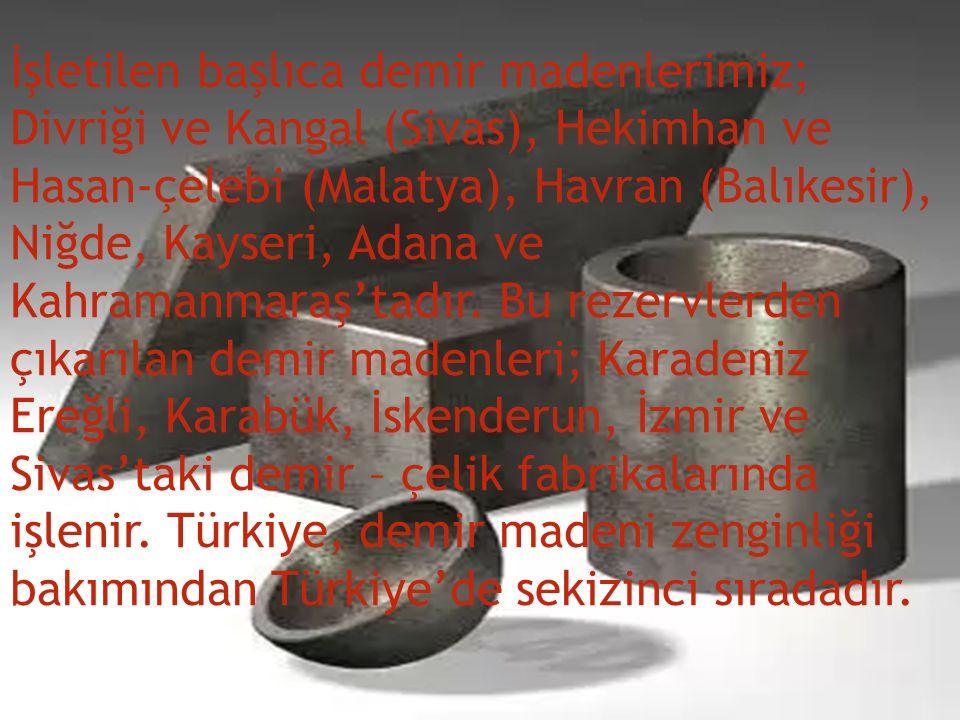 İşletilen başlıca demir madenlerimiz; Divriği ve Kangal (Sivas), Hekimhan ve Hasan-çelebi (Malatya), Havran (Balıkesir), Niğde, Kayseri, Adana ve Kah