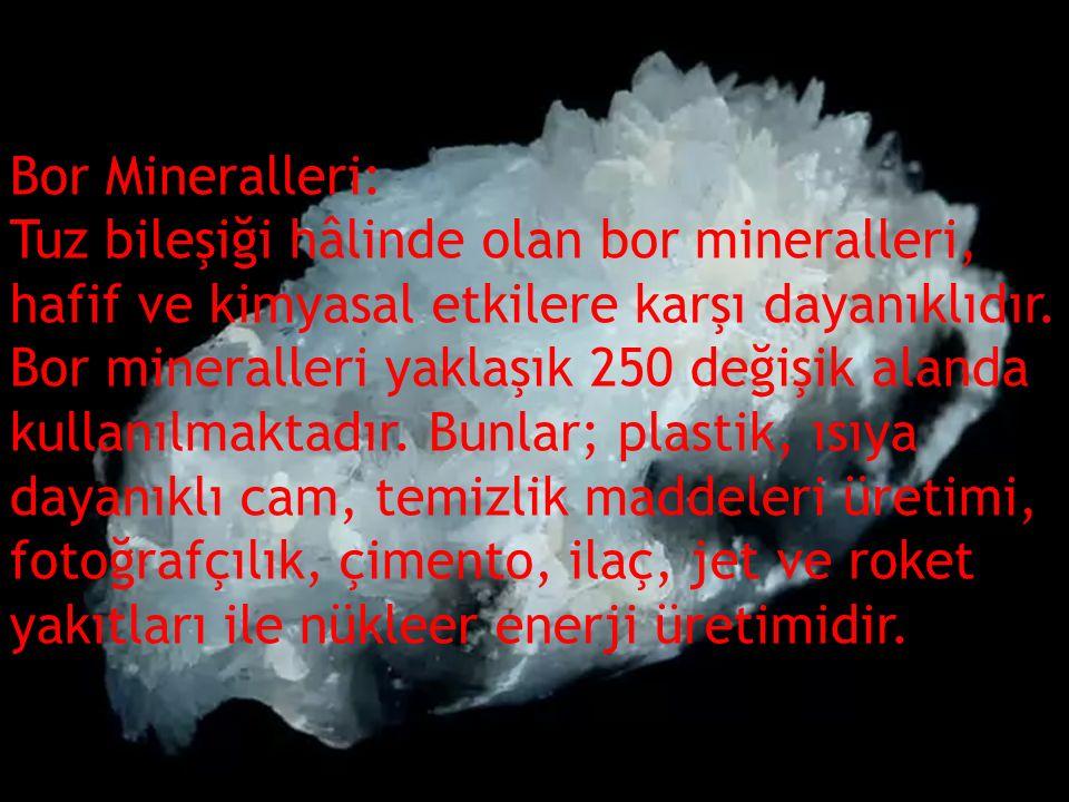 Bor Mineralleri: Tuz bileşiği hâlinde olan bor mineralleri, hafif ve kimyasal etkilere karşı dayanıklıdır. Bor mineralleri yaklaşık 250 değişik alan