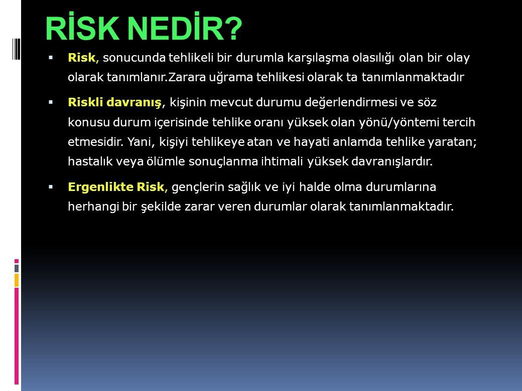 RİSK NEDİR?  Risk, sonucunda tehlikeli bir durumla karşılaşma olasılığı olan bir olay olarak tanımlanır.Zarara uğrama tehlikesi olarak ta tanımlanmak