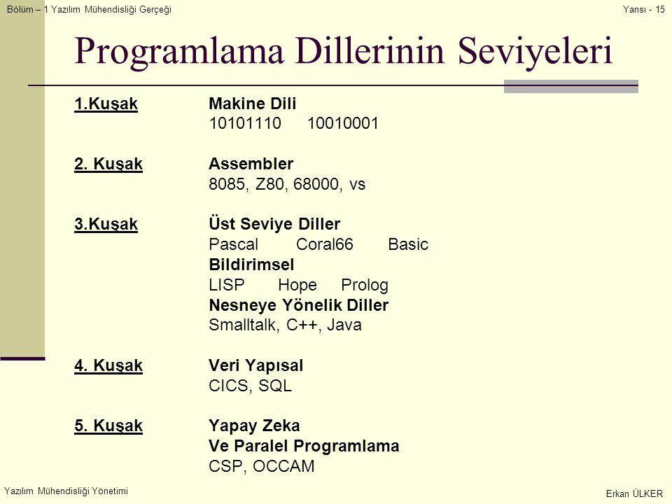 Bölüm – 1 Yazılım Mühendisliği Gerçeği Yazılım Mühendisliği Yönetimi Erkan ÜLKER Yansı - 15 Programlama Dillerinin Seviyeleri 1.KuşakMakine Dili 10101110 10010001 2.