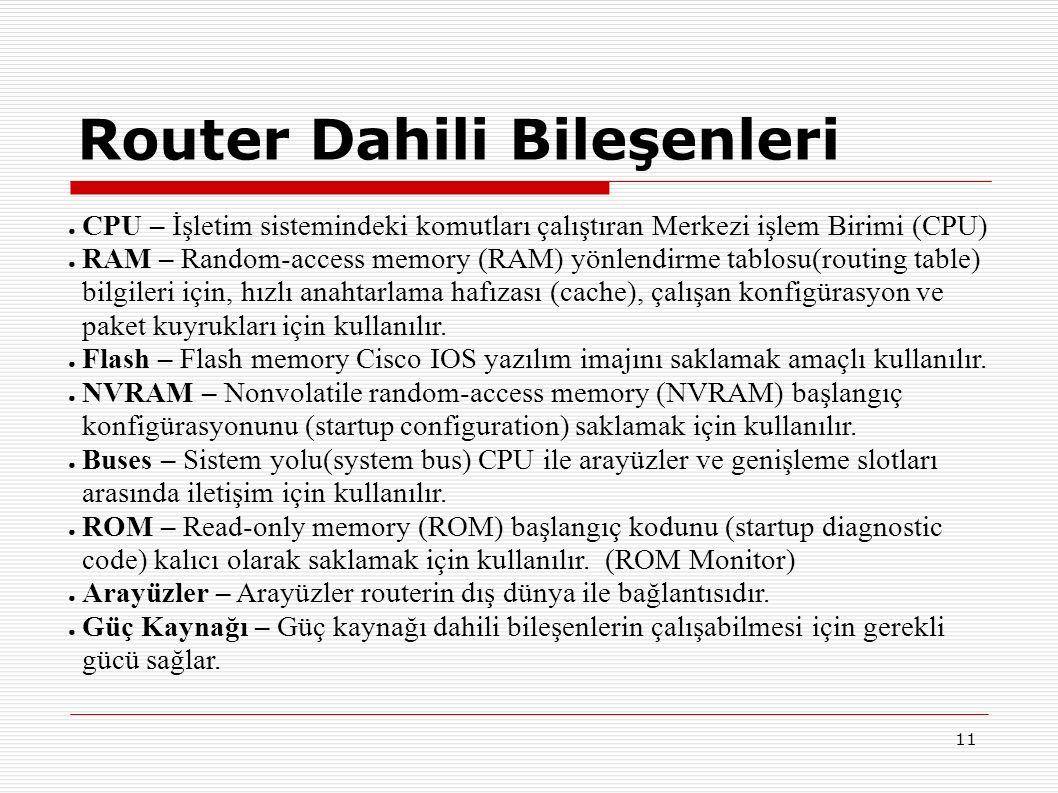 11 ● CPU – İşletim sistemindeki komutları çalıştıran Merkezi işlem Birimi (CPU) ● RAM – Random-access memory (RAM) yönlendirme tablosu(routing table) bilgileri için, hızlı anahtarlama hafızası (cache), çalışan konfigürasyon ve paket kuyrukları için kullanılır.