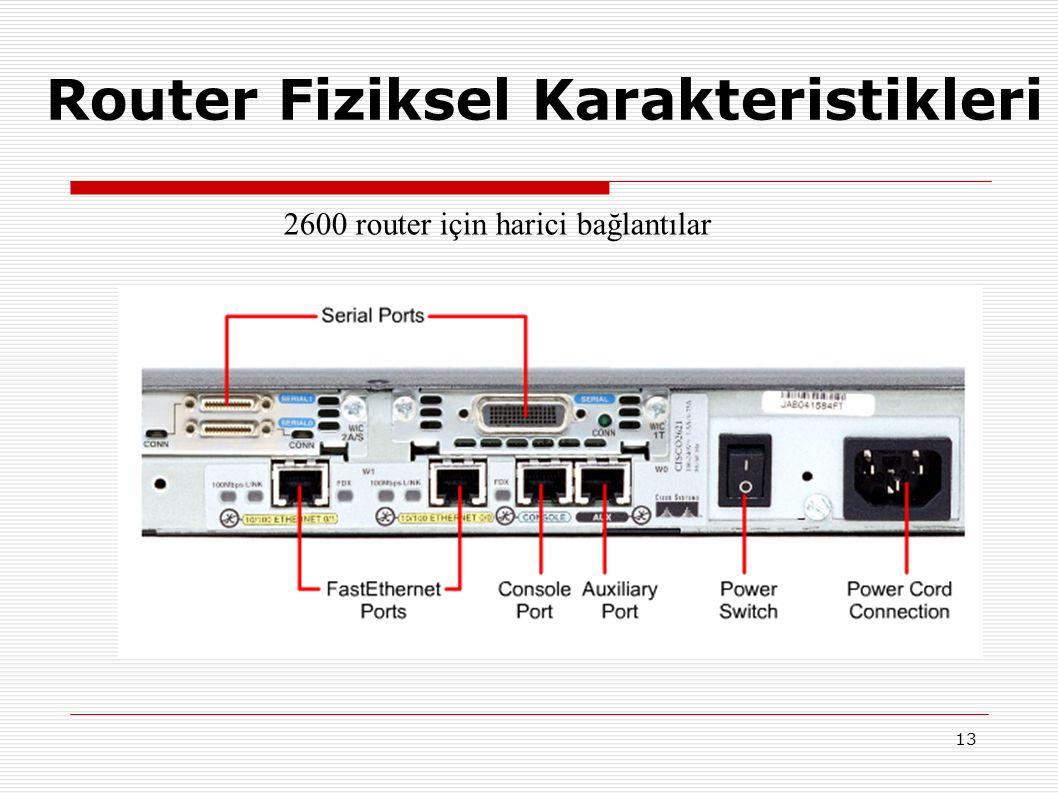 13 2600 router için harici bağlantılar Router Fiziksel Karakteristikleri
