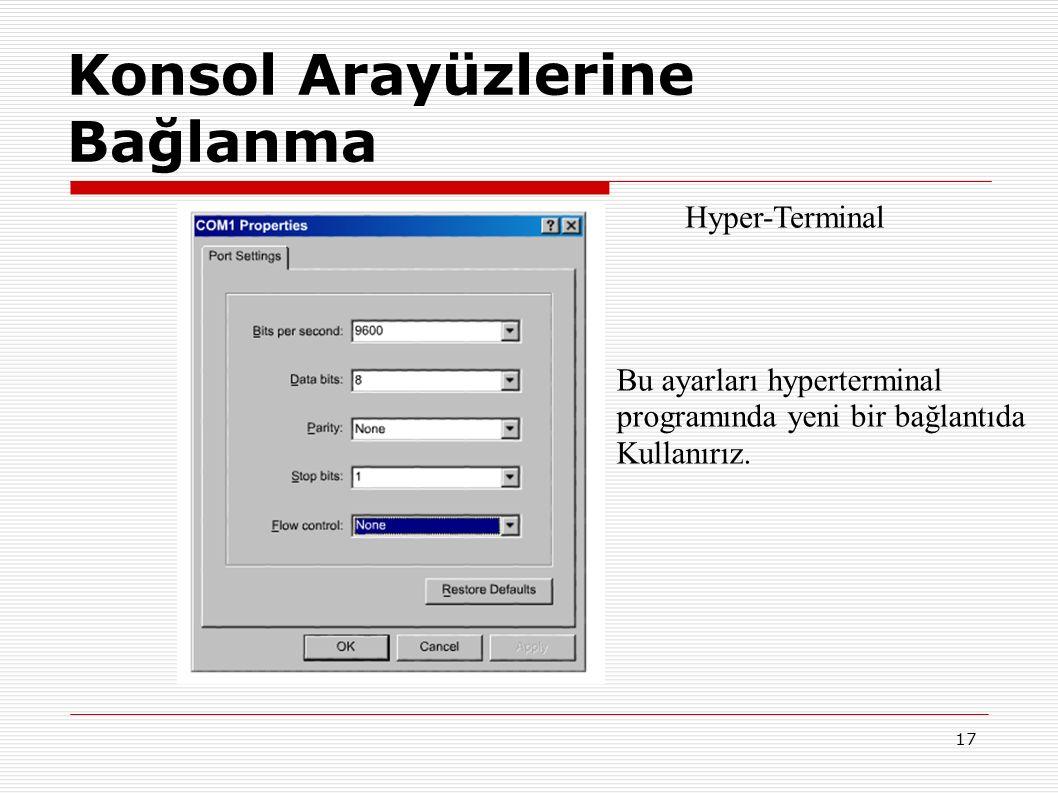 17 Konsol Arayüzlerine Bağlanma Hyper-Terminal Bu ayarları hyperterminal programında yeni bir bağlantıda Kullanırız.