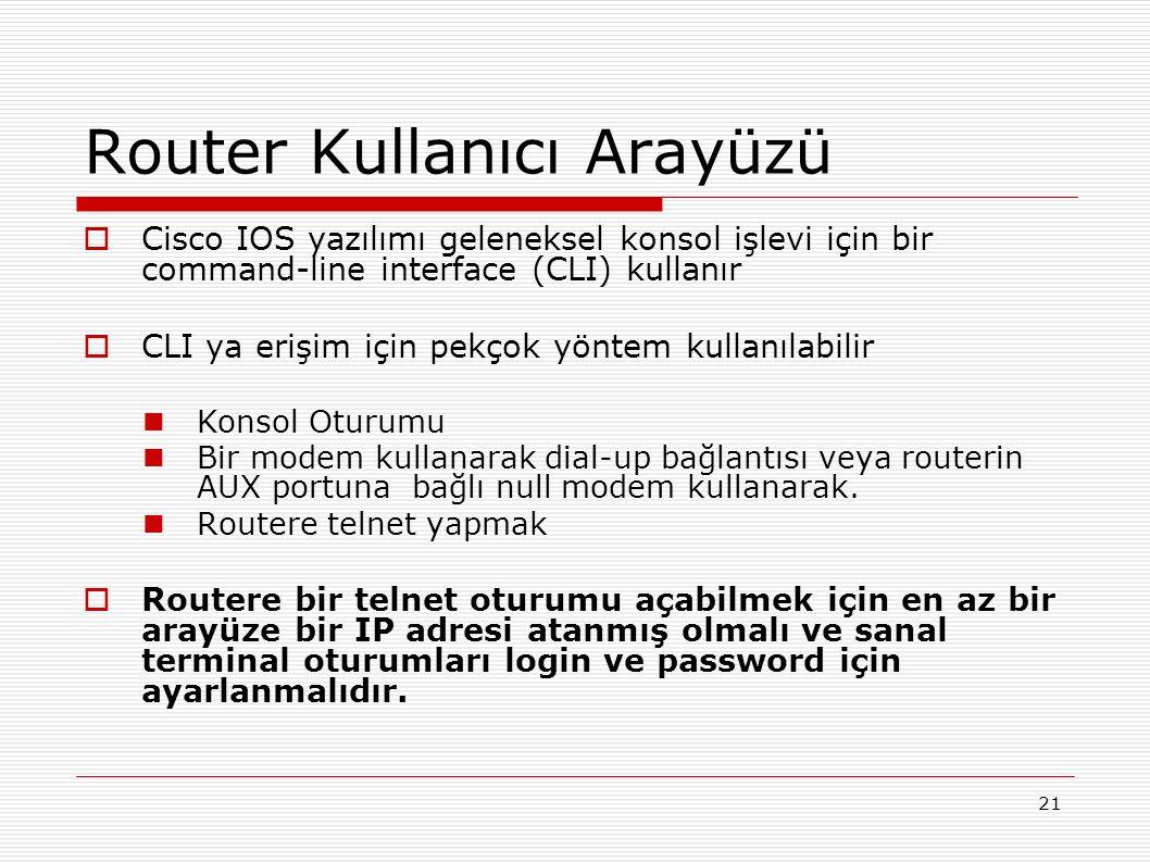 21 Router Kullanıcı Arayüzü  Cisco IOS yazılımı geleneksel konsol işlevi için bir command-line interface (CLI) kullanır  CLI ya erişim için pekçok yöntem kullanılabilir Konsol Oturumu Bir modem kullanarak dial-up bağlantısı veya routerin AUX portuna bağlı null modem kullanarak.
