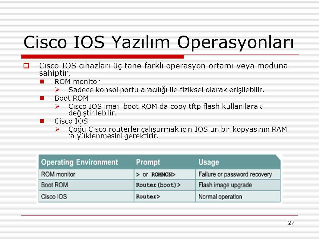 27 Cisco IOS Yazılım Operasyonları  Cisco IOS cihazları üç tane farklı operasyon ortamı veya moduna sahiptir.