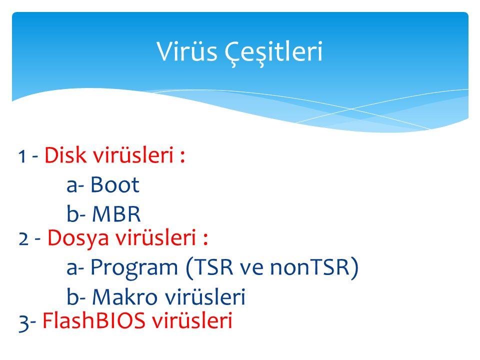 1 - Disk virüsleri : a- Boot b- MBR 2 - Dosya virüsleri : a- Program (TSR ve nonTSR) b- Makro virüsleri 3- FlashBIOS virüsleri Virüs Çeşitleri